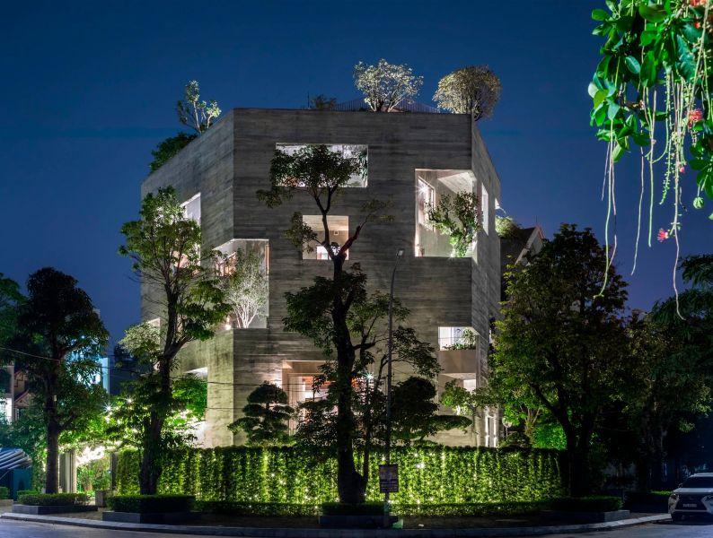 Imagen nocturna hormigón visto y vegetación