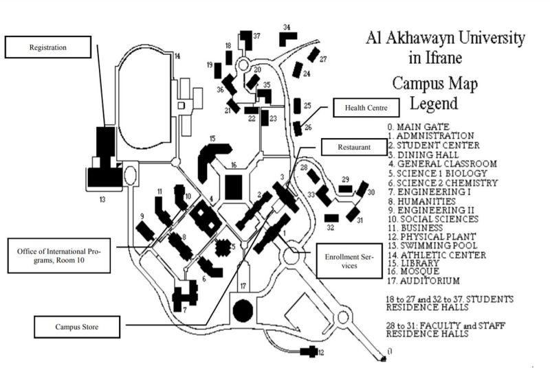 Mapa de campus universitario al akhawayn