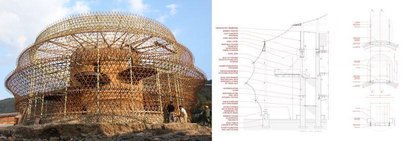 Anna Heringer - Albergues en Baoxi (vista y sección constructiva)