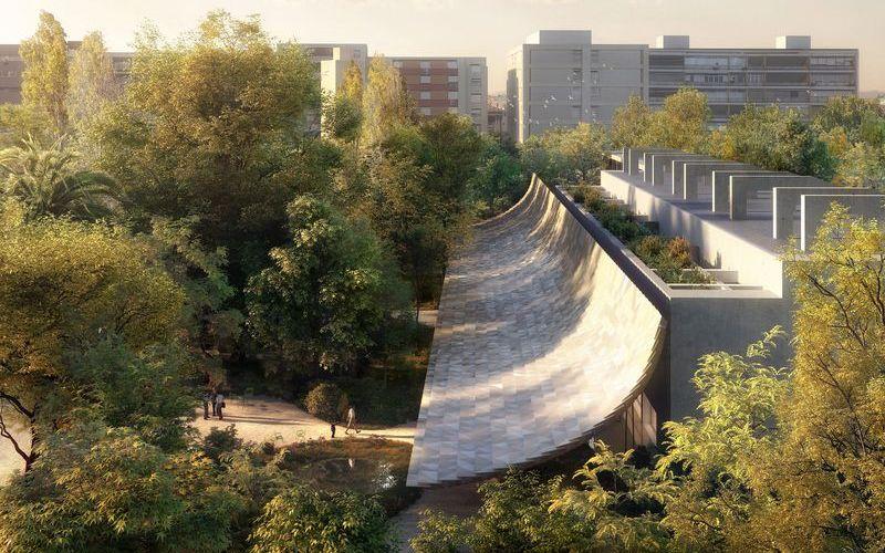 Vista aérea de la intervencion exterior de Kengo Kuma en el Centro de arte Moderno de la fundación Gulbenkian