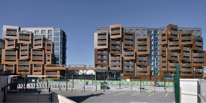 Vista frontal del proyecto Basket Apartaments, Ofis Arhitekti. Francia