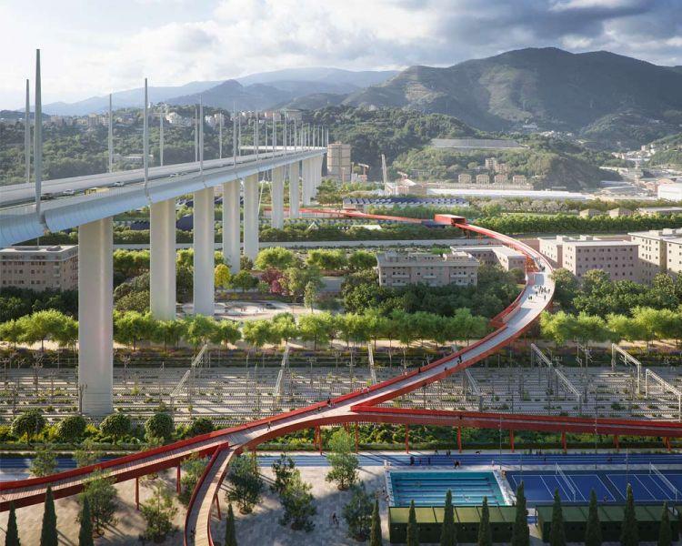 Render del proyecto del Parque del Puente en Génova