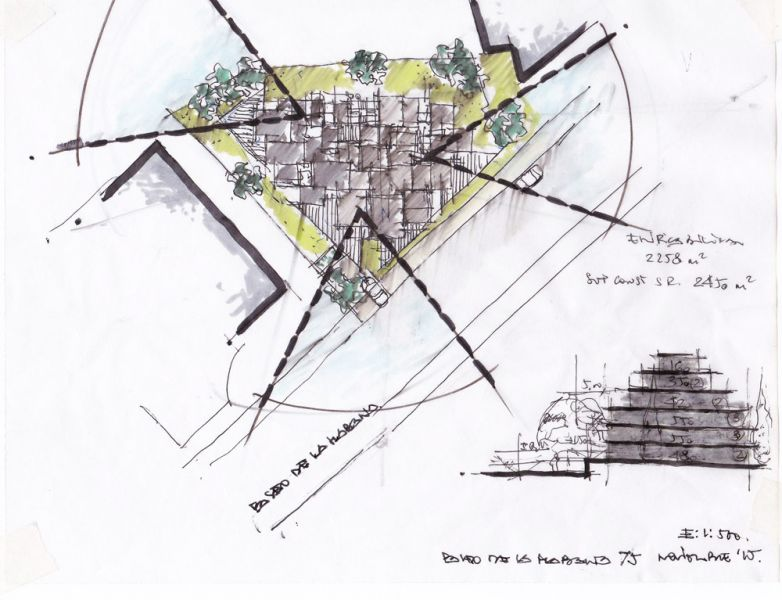 arquitectura bueso inchausti & Rein arquitectos edificio paseo la habana 75 madrid boceto implantacion