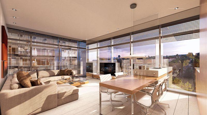 arquitectura torres up-site Bueso-Inchausti & Rein Arquitectos render interior vivienda