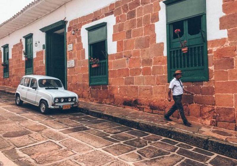 Fotografía del pueblo de Barichara. Fachadas.