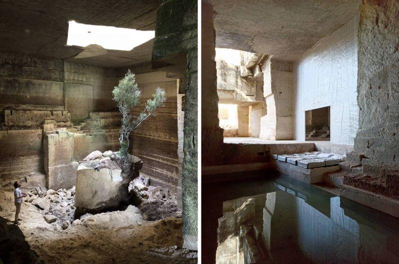 Interior cantera convertida en vivienda