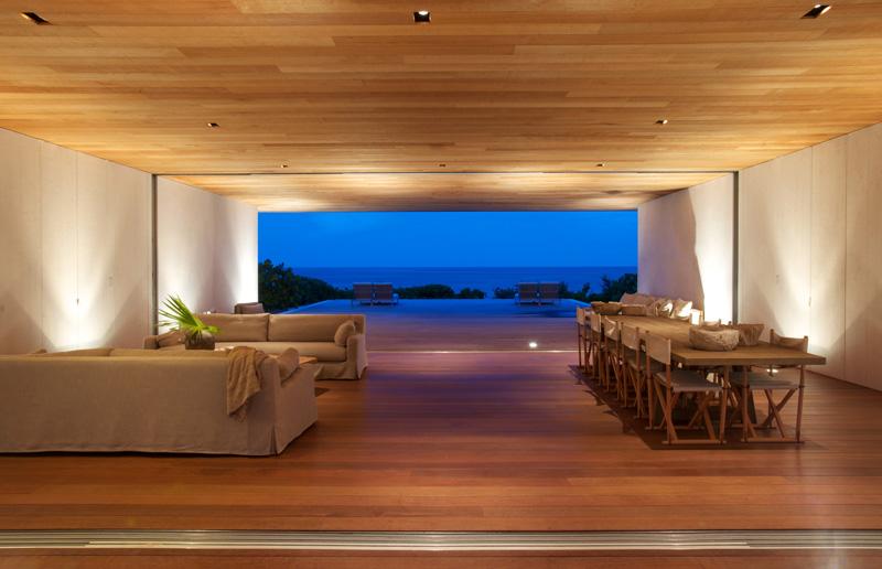 Vista hacia el océano_iluminación interior_ Casa en las dunas_ bahamas