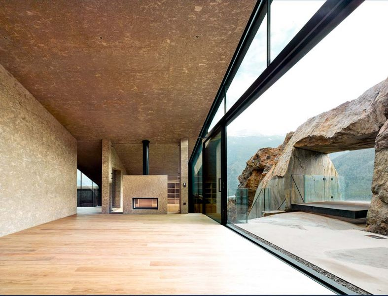 vista del salón y la terraza