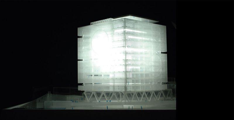 Fotografía maqueta que representa el concepto de transparencia de la fachada