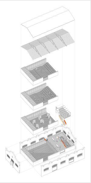 arquitectura nave 3 parque central contell-martinez esquema axonometria