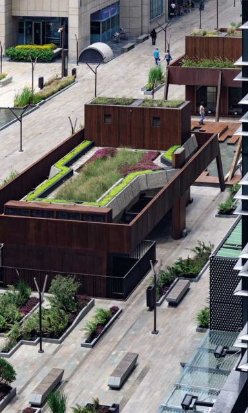 Cubiertas verdes de los volúmenes del humedal urbano
