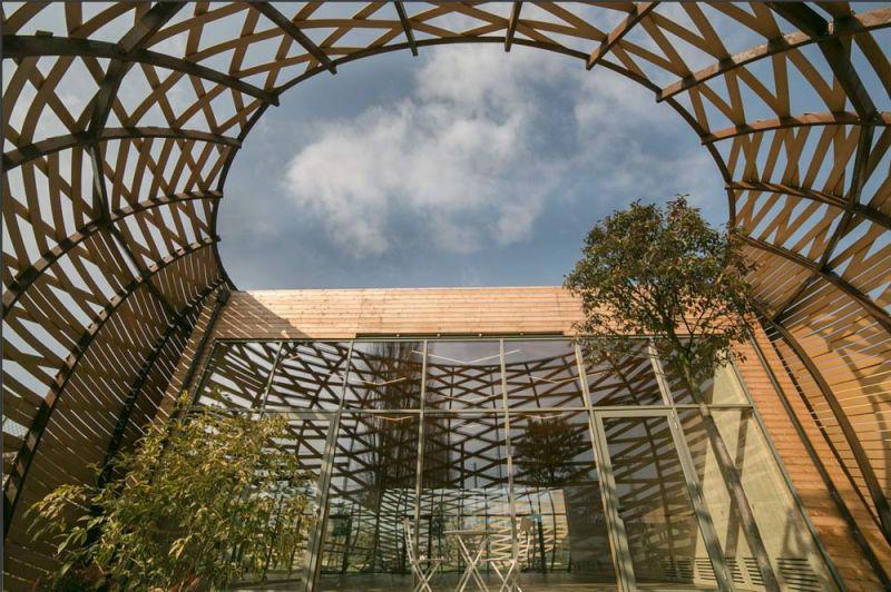 Vista del patio y estructura de sombreado