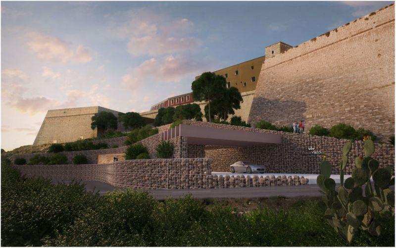 arquitectura andrada estudio parador de turismo del castillo de ibiza acceso