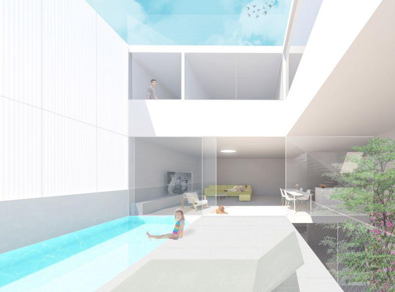 arquictectura oam arquitectos casa salamaca render interior patio piscina