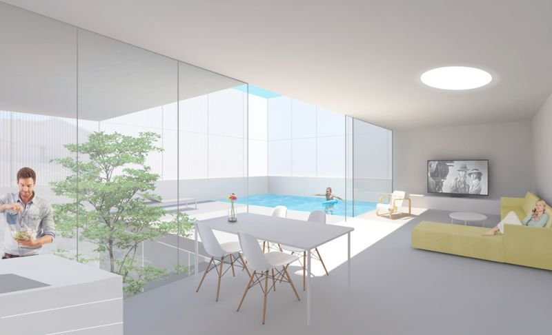 arquictectura oam arquitectos casa salamaca render interior salon cocina