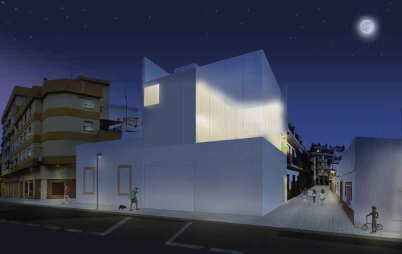 arquitectura casa salamanca OAM arquitectos render exterior esquina nocturno