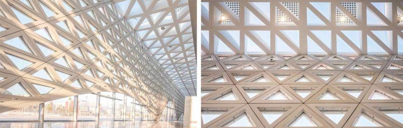 """El elemento arquitectónico """"moucharabieh filtra naturalmente la luz y el aire para garantizar temperaturas interiores cómodas"""
