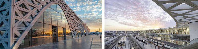 El patrón triangular en la piel del edificio está inspirado en las composiciones geométricas de la arquitectura islámica