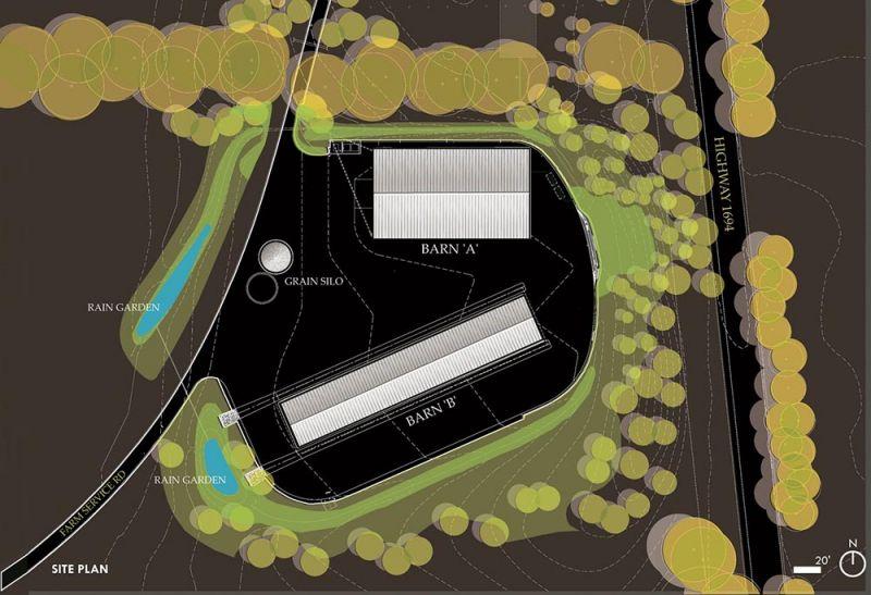 arquitectura plano de ubicación granja Mason Lane