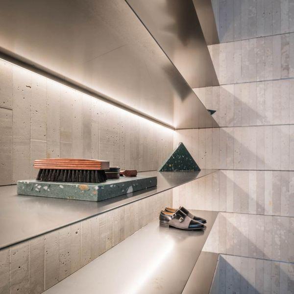 arquitectura estudio diir tienda diplomatic estantes acero