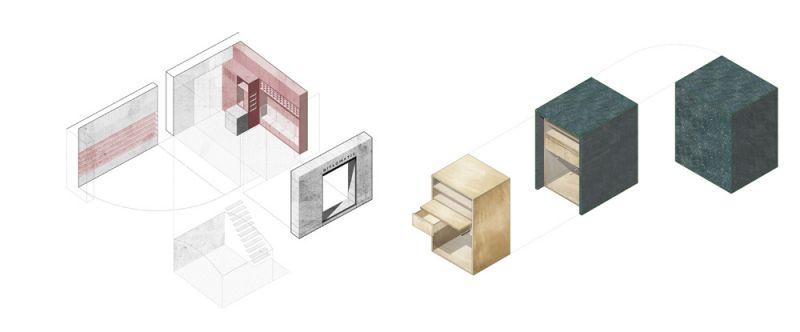 arquitectura estudio diir tienda diplomatic esquema axonometria