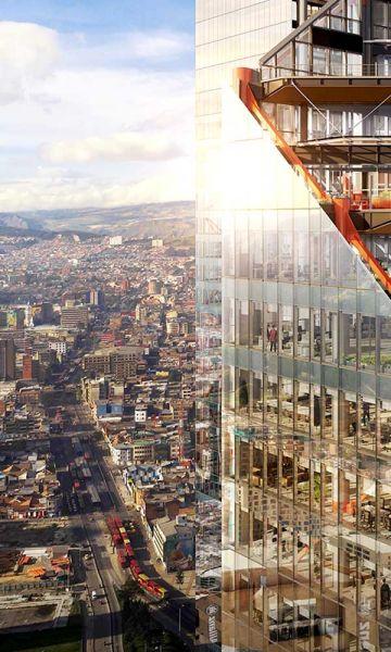 Render vista de la fachada en relación con la ciudad del proyecto ATRIO.