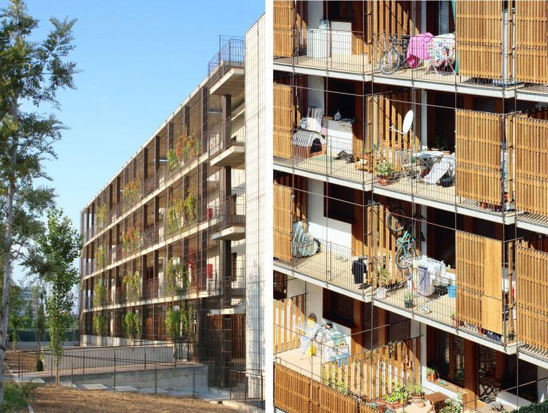 80 viviendas VPO Toni Gironès - Alzados con lamas y vegetación