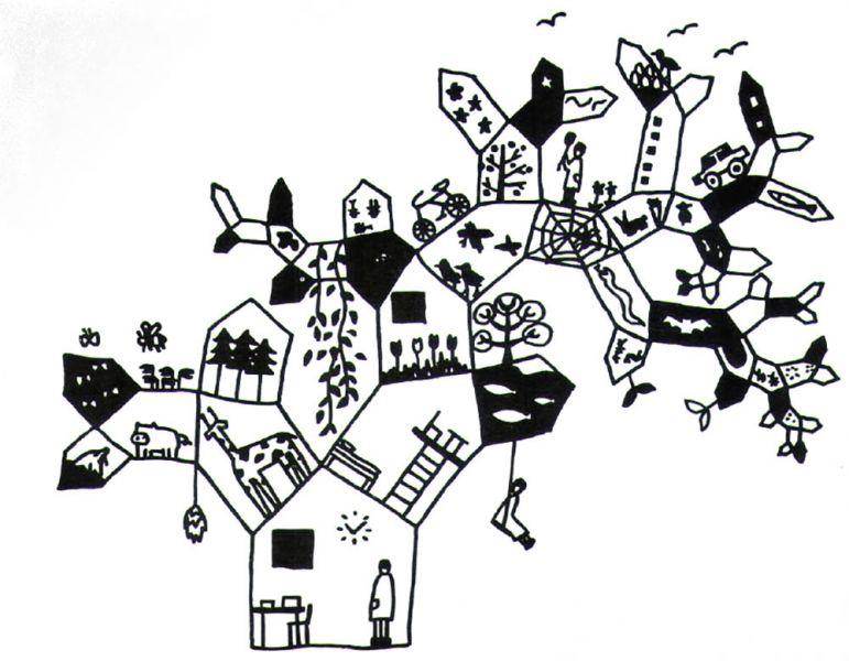 Ilustración Futuro primitivo. Sou Fujimoto, 2008. Múltiples sistemas y gradaciones
