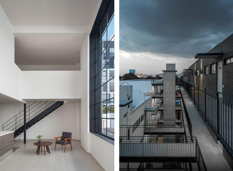 arquitectura interior doble altura Conjunto Habitacional María Ribera