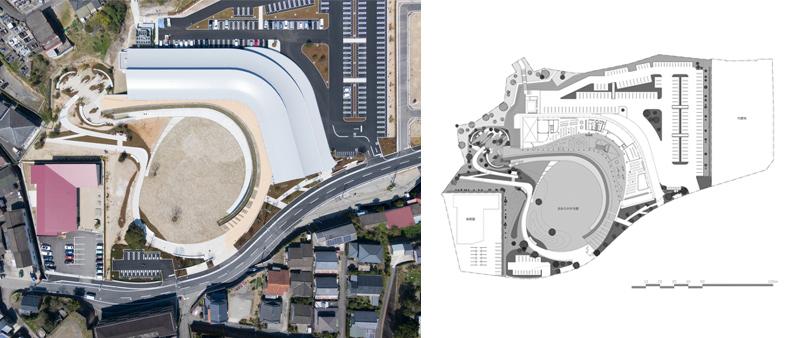 Arquitectura y Empresa, Japón, espacio multifuncional, arquitectura pública, edificios públicos, KOKORASU, Nikken Sekkei, Amakusa, Takumi Ota, biblioteca, centro salud, madera, hormigón visto, minimalista