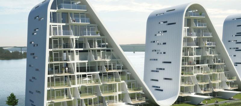la ola _henning-larsen-architects_ de las ondas frontal