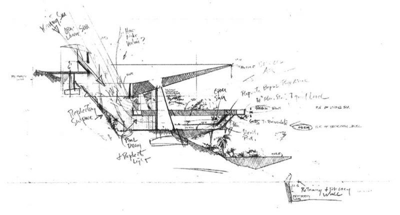 arquitectura casa arango john lautner planos seccion