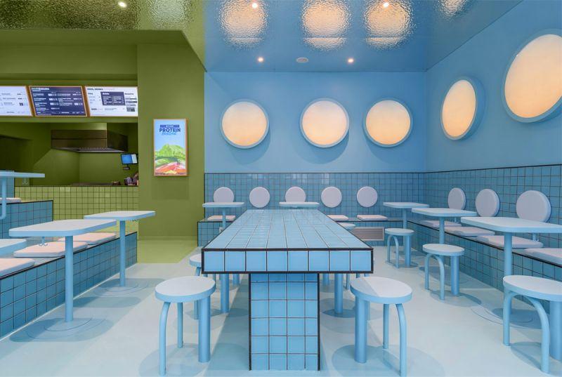 Imagen del interior, zona verde para la barra de los pedidos