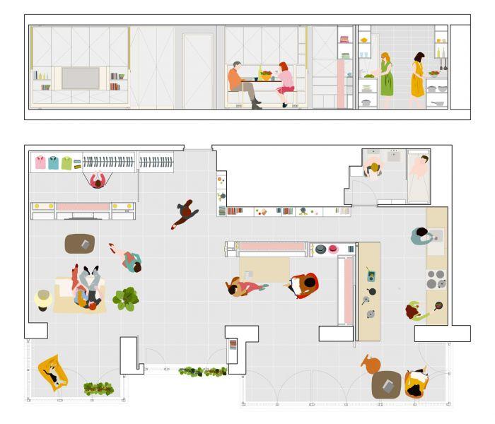 Casa MJE - Plano espacio abierto