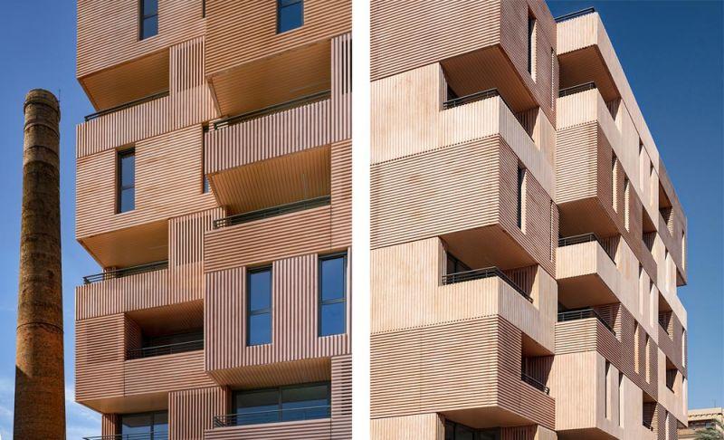 arquitectura muñoz miranda architects 73 viviendas foto exterior detalle fachada ladrillo
