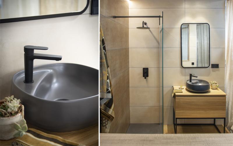 Arquitectura y Empresa, Ramon Soler, grifería baño, grifo, negro mate, diseño, vanguardista,  colección Alexia, diseño de interiores, baño, grifería para baños