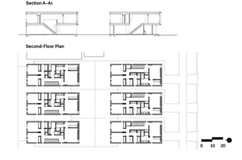 Oak_Park_plantas alzados y sección