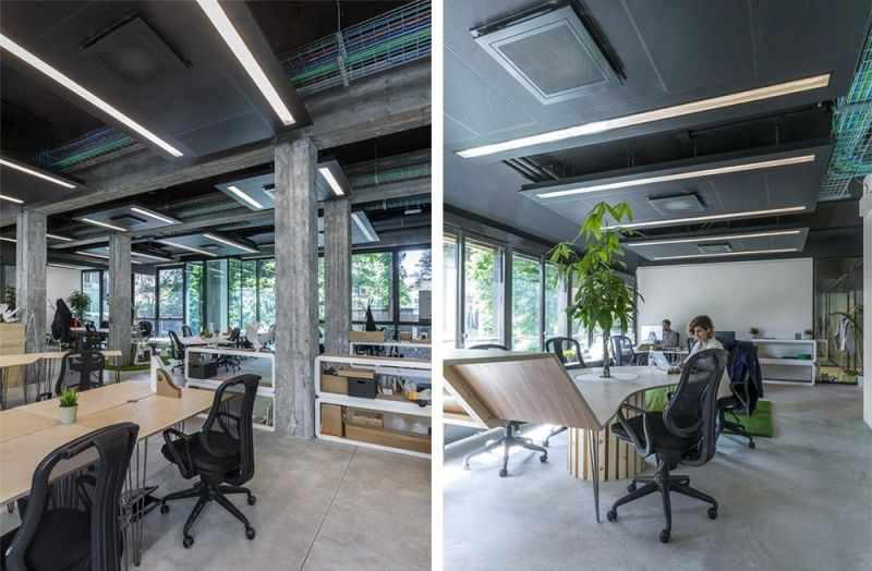 Imagen del interior de las oficinas con el sistema de burbuja térmica