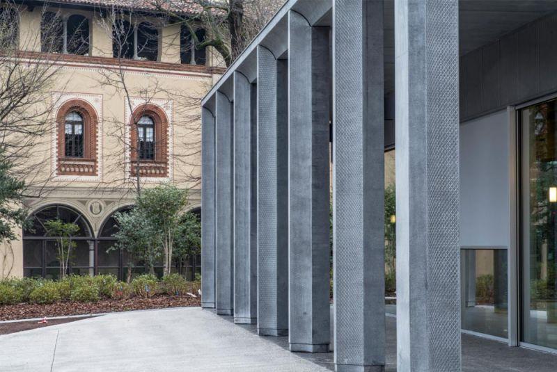 El nuevo edificio en relación con la villa histórica de los Arcimbaldi
