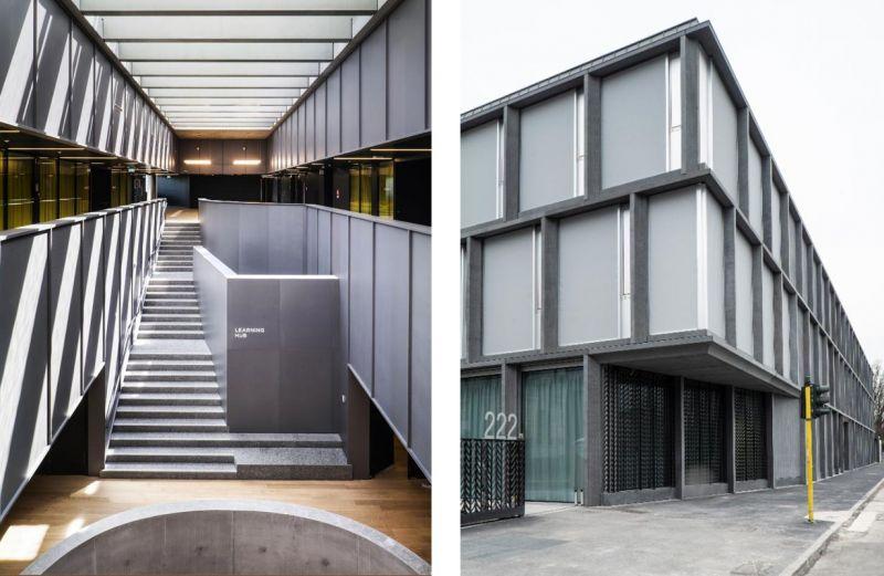 Imagen de la entrada del edificio e imagen del hall del mismo