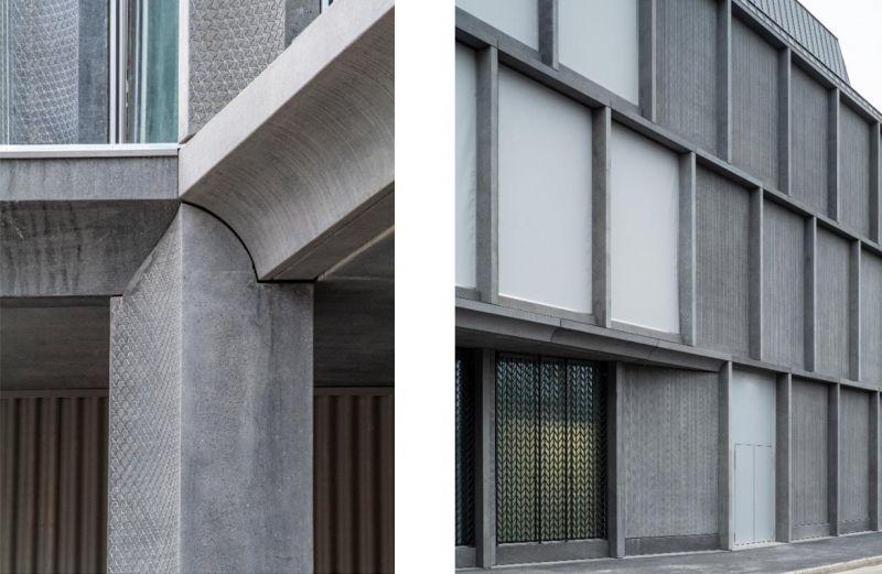 Imágenes de la textura de los paneles de hormigón exteriores de la fachada