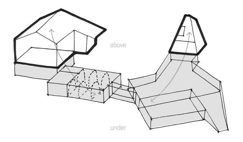 Esquema de los arquitectos: parte enterrada versus parte emergida del proyecto