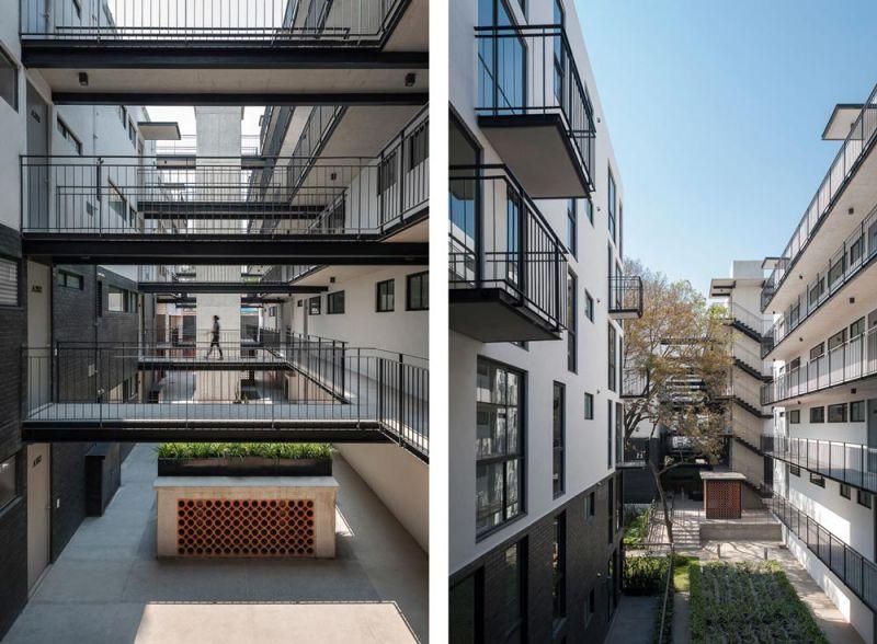 arquitectura circulaciones y puentes Conjunto Habitacional María Ribera