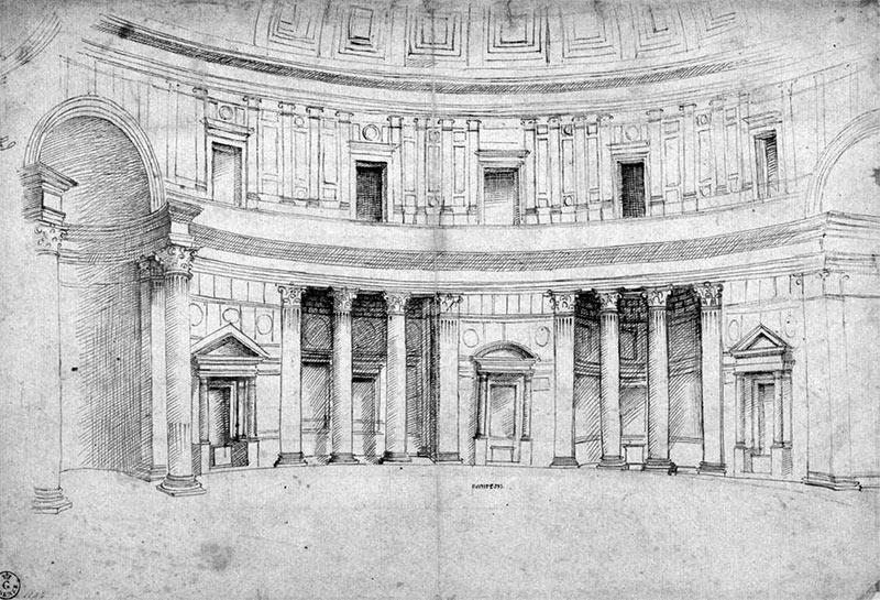 Rafael Perspectiva Interior del Panteón de Roma