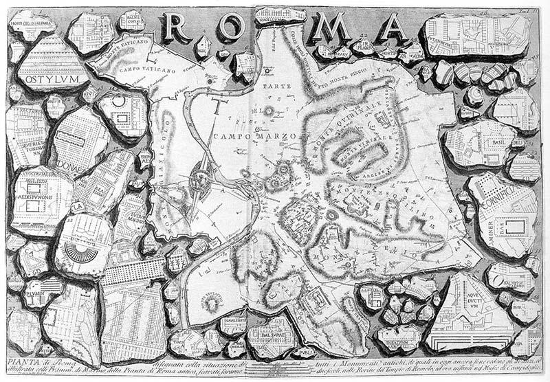 Piranesi: Planta de Roma (Le antichità romanæ, vol I, 1756)