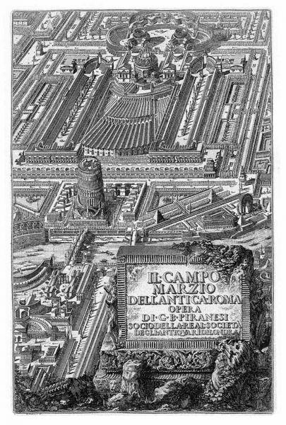 Piranesi: frontispicio de los Campos de Marte de la antigua Roma (1762)