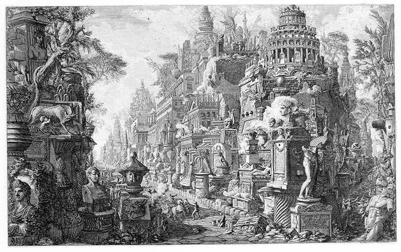 Piranesi: Vista ideal del antiguo cruce entre la via Appia y al vía Ardeatina (Le antichità romanæ, vol I, 1756)