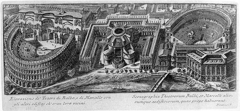 Piranesi: Teatros de Balbo y Marcello con los otros edificios colindantes (Il Campo Marzio dell'antica Roma, 1762)