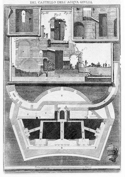 Piranesi: Planta y alzado del manantial (Le rovine del Castello dell'acqua Giulia, 1761)
