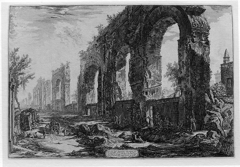 Piranesi: Restos del acueducto de Nerón (Vedute di Roma, 1778)